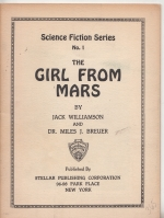 Image for The Girl From Mars (inscribed to Gerry de la Ree)..